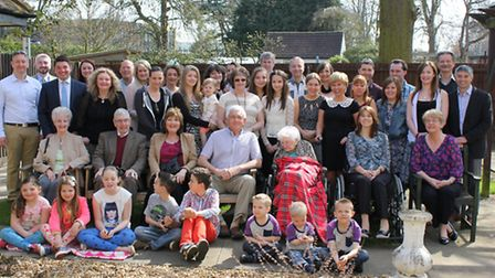 Marry Norris with her family at her 100th birthday celebration