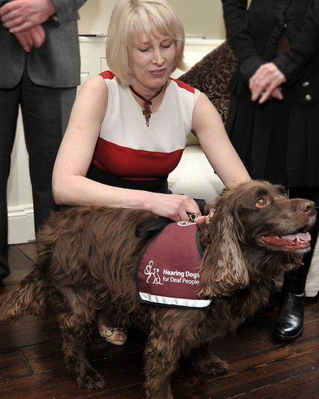 Launch of YourEly. Caroline Bailey with Coley the Hearing Dog