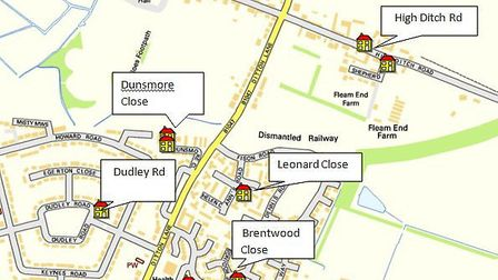Map produced by Cambs Police showing burglar's spree in Cambridge