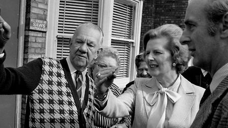 Tory leader Margaret Thatcher chats to floodhit residents of Sybil Road Wisbech.