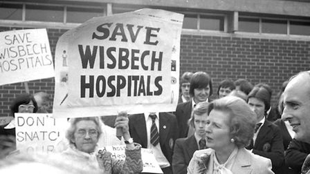 Bowthorpe Maternity Hospital protesters confront Mrs Thatcher on her arrival back at Hudson Centre f
