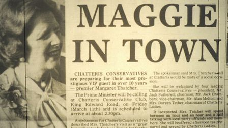 Margaret Thatcher Chatteris, picture from Cambridgeshire Times March 1983.