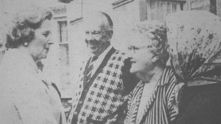 Mrs Thatcher ,eeting flood victims during her visit to Sybil Road, Wisbech.