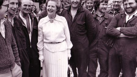 Mrs Margaret Thatcher with some of the men who helped to build the stern Trawler Boston Sea Stallion