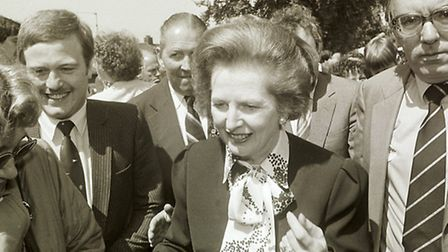 """<co filer>Margaret Thatcher , pictured during a brief stop in Narborough during a """"Whistlestop"""" to"""