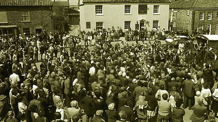 <co filer>Margaret Thatcher , speaking from the back of a cattle float(rt),, addresses the crowd in