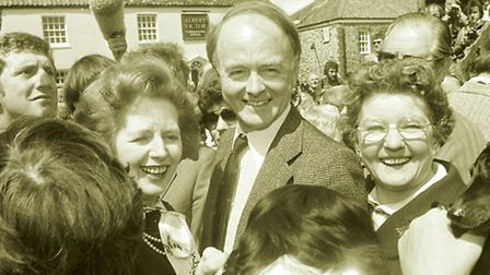 """<co filer>Margaret Thatcher , thronged by the crowd in Castle Acre during a """"Whistlestop"""" tour of"""