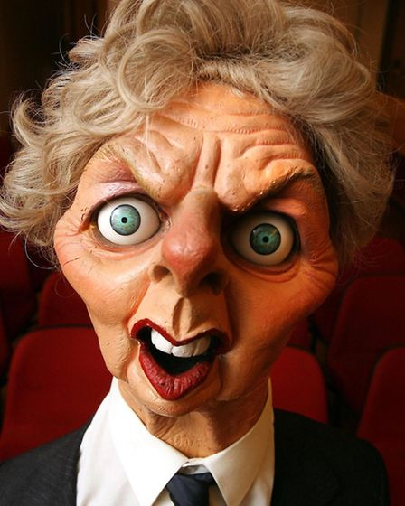 View of an original Spitting Image puppet of former British Prime Minister Margaret Thatcher which i