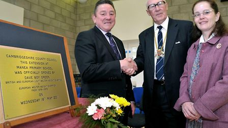 STANDIND DOWN: Official opening of the Manea School extension by Dave 'Boy' Green. Shaking hands wit