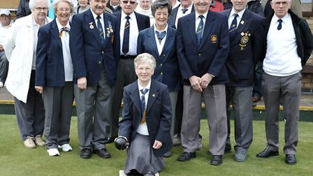 Whittlesey bowls club. Committee and friends gathered for their open day.