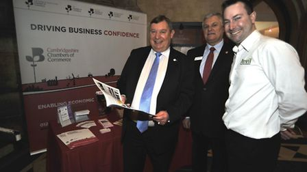 Celebration of Business at Ely Cathedral, at the Cambridgeshire Chambers of Commerce stand are (l-r)