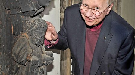 St Clement's Church, Outwell. Conservators from English Heritage and other organisations examine the