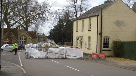 High winds brought the scaffolding down into the road. Picture: Peter Binns