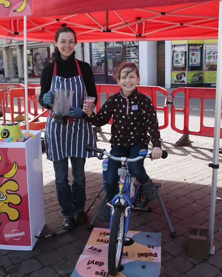 Wisbech Cycle Day . Lydia Hamilton with smoothy.