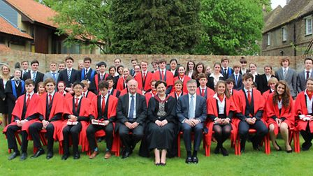 Sir Jim Paice, front row, fifth left, with the head, governors and students of King's, Ely.