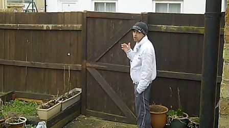 Neal caught on camera in Mr Sawford's garden