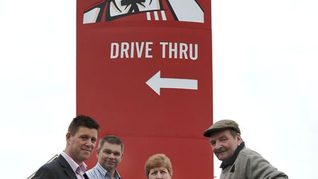 KFC Sign at Wisbech road Westry. Left: Jon Butler, Cllr Rob Skoulding, Cllr Jan French and Don Burr.