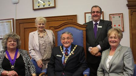 New chairman Ken Mayor and his wife Kay with vice-chairman Carol Cox (left) and (standing) Michael a