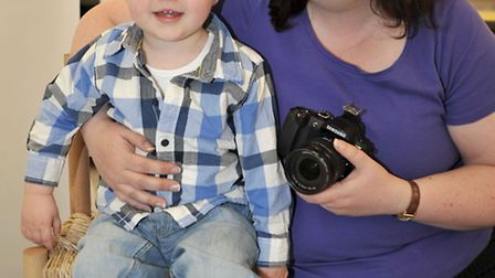 Ely Baby of the year, Harry Bratby 15mths old with photographer Jo Murphy.