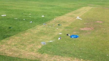Some of the beers cans and drinks bottles strewn on the Paradise Fields