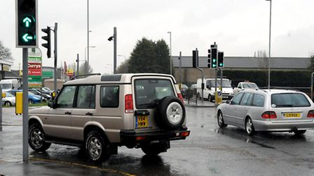 Cromwell Road, Wisbech traffic lights at the Tesco/Lidl junction