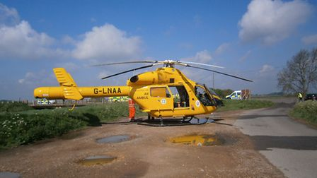 The Magpas Helicopter at the scene of the collision between Doddington and Chatteris.