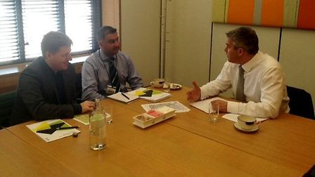 MP Steve Barclay with Jeremy Smith of Cambridgeshire County Council and Adil Chaudhery of Consultanc