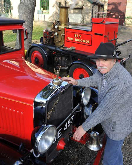 Peter Swann from Emneth, with the Ely Fire Tender, and the Ely steam Fire appliance (behind).