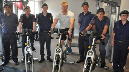 Air Cadets from 999 (Dunmow & District) Squadron with Blake Newbold, fitness manager at Saracens Fit