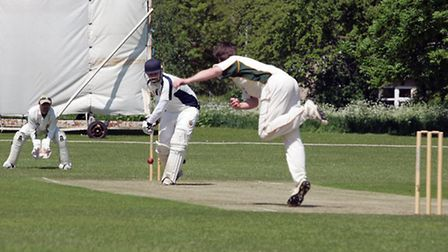 Sam Albutt gets to the pitch of a full ball