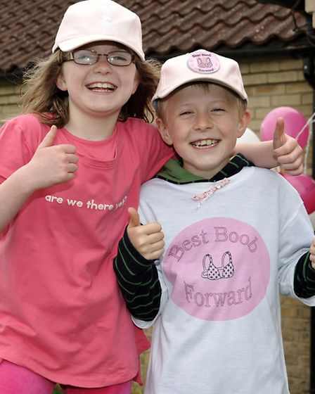 Walk supporters Evie Green and Joshua Rhodes.