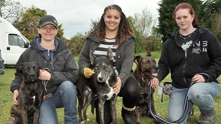 Outwell Friends of Wisbech Hospital dog Show. Left: Katrina Dunford with Luna, Toni Isden and Manson