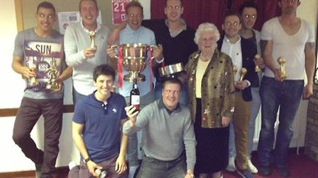 The 2012/13 award winners from Ely City Football Club with Polly Unwin