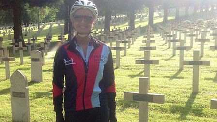 Debbie Smith cycles the Big battlefield bike run for help for heroes.
