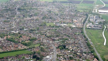 Flying club at Chatteris airfield. Flight in a Microlight.View of Chatteris and surounding area from