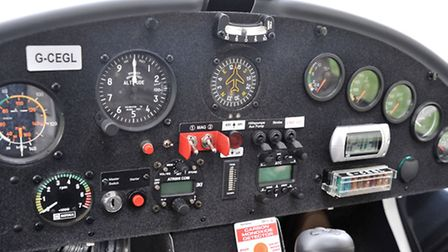 Flying club at Chatteris airfield. Flight in a Microlight. cockpit of the Ikarus 42 Microlight.