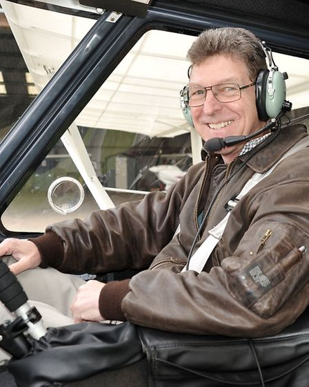 Flying club at Chatteris airfield. Flight in a Microlight. Pilot and flying instructor Mike McLoughl