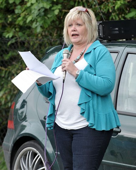 Sharon Jardine, now a UKIP member, at anti immigration demonstration in Wisbech Park. Picture: Steve