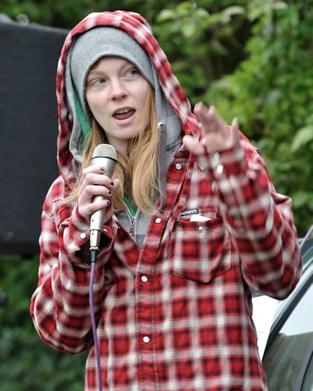Ellie, who spoke at anti immigration demonstration in Wisbech park. Picture: Steve Williams.