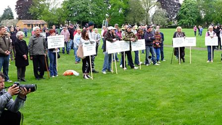 Some of those in Wisbech Park for today's protest