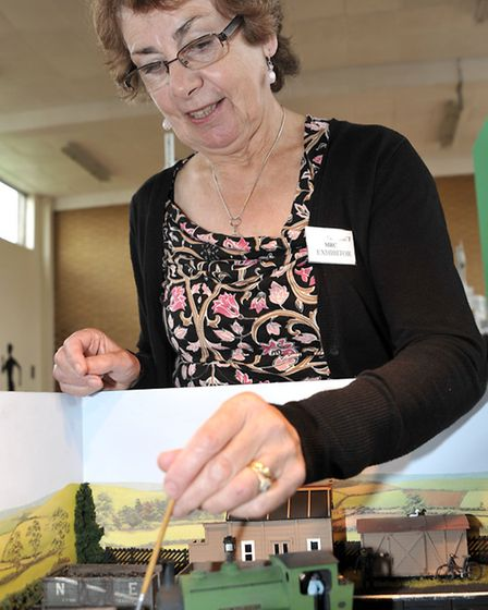 Ely & district model railway club held their exhibition at Ely college. Margaret French works on her