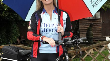 Debbie Smith from March, cycles the Big battlefield bike run for HELP FOR HEROES