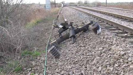The pantograph which came loose from the train in high winds