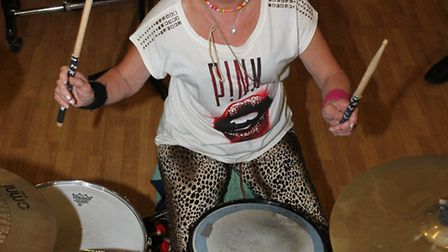 Drumming sensation and Felsted teacher, Crissy Lee ready to rock on her 70th birthday.