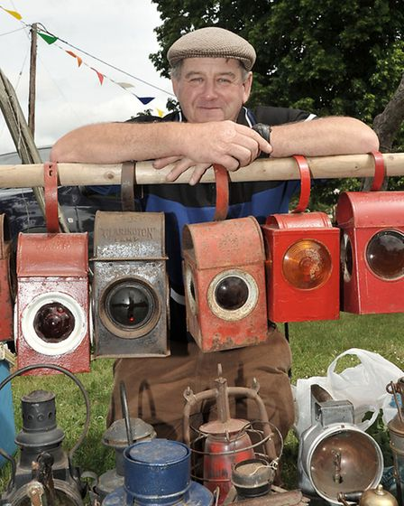 Wicken fete & dog show. Trevor Brown with his collection of lamps.