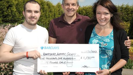 Todd Jackson handed over a cheque for £1,130. Todd, 22, completed the Tough Mudder challenge in Kett
