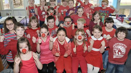 Park Lane school Whittlesey, Staff and pupils dressed in red for Red Nose day. Picture: Steve Willia