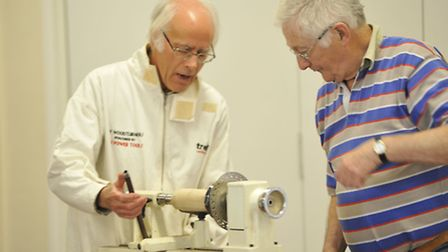 Hands on Day for Ely Guild of Woodturners, at Little Thetford Village Hall, (l-r) turner Peter Symon