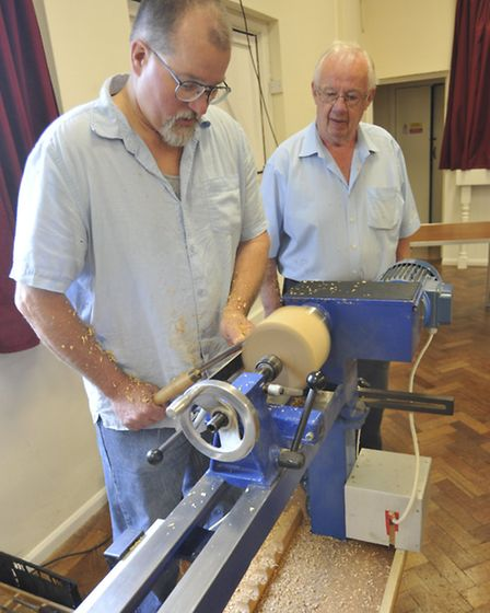 Hands on Day for Ely Guild of Woodturners, at Little Thetford Village Hall, (l-r) visitor Cliff Ern