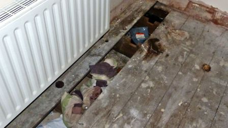 Human excrement in the corner of a room in the squat in Norwich Road, Wisbech.